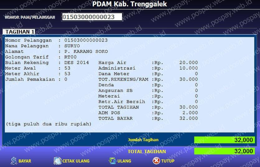 Contoh Transaksi Pdam Kab Trenggalek